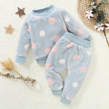 2pcs Baby Girl Sweet Polka dot Baby's Sets winter warm clothes thick sweater Outfit