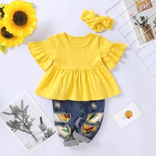 3-piece Solid Short-sleeve Dress and Jeans Set