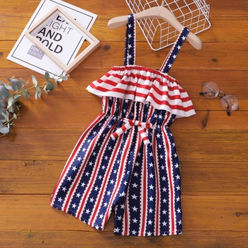 Fashionable Kid Girl Stars & Stripes Bowknot Slip Rompers