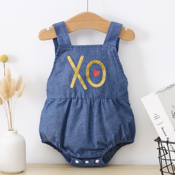 Baby Letter Print Strappy Romper