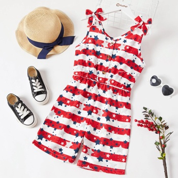 Fashionable Kid Girl Stripes Stars Rompers