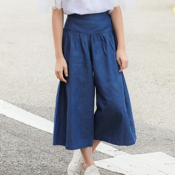 Stylish Solid Denim Wide-leg Pants