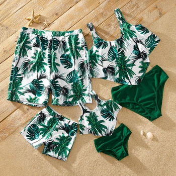 Tankini Tropical Plant Print Matching Swimsuits