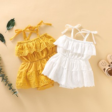 Baby Girl Solid Lace Design Hollow Strappy Sleeveless Romper