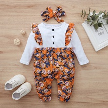 2-piece Baby Floral Ruffled Jumpsuit and Headband Set