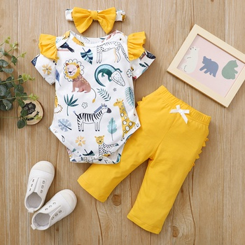 3pcs Baby Girl casual Animal Cute Cotton Flutter-sleeve Baby's Sets