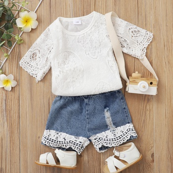 2pcs Cotton Short-sleeve Cowboy Baby Girl Sweet Baby's Sets