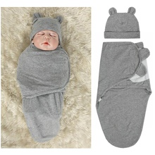 Baby Cotton Swaddle Sleeping Bag and Hat