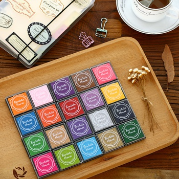 20-color Colorful Handprint Pad Finger Painting Color Ink Pad DIY Rubber Stamp Stamp Pad 20 colors Boxed