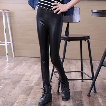 Cool Solid Leather Skinny  Pants