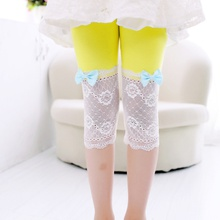 Girl Bowknot Lace Half Leggings