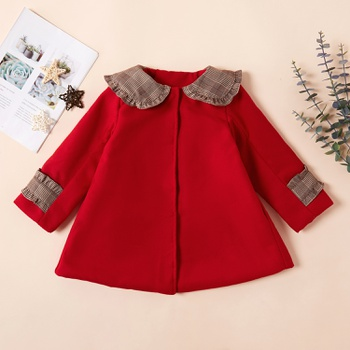 Fashionable Solid Plaid Doll Collar Coat