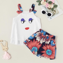 2-piece Trendy Cartoon Print Tank and Flower Shorts Set