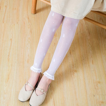 Sweet Ruffled Lace Flower Embroidered Leggings