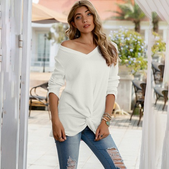 Round collar Plain long sleeve casual Pullovers1