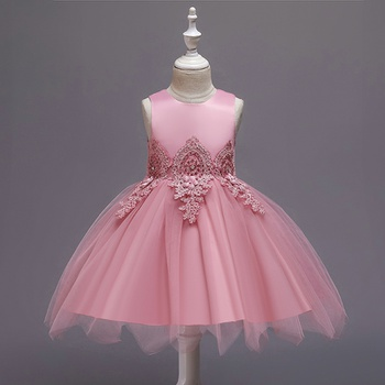 Baby / Toddler Bowknot Embroidery Tulle Party Dress