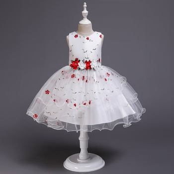 Fashionable Flower Embroidered Party Dress