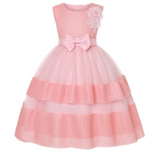 Kids Girl Bowknot Floral Decor Mesh Party Dress