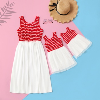 Stripe Stitching Mesh Fitted Dresses for Mommy and Me