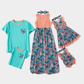Mosaic Floral Print Blue and Orange Family Matching Sets