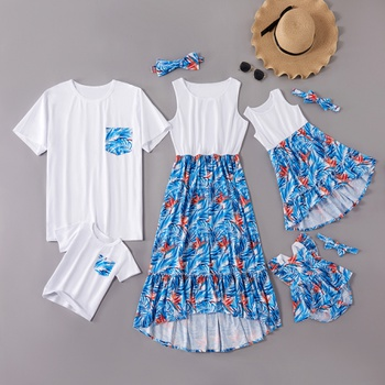 Mosaic White Stitching Blue Floral Family Matching Sets