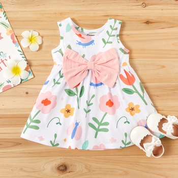 Baby Girl Cute Floral Sleeveless Bowknot Decor Dress