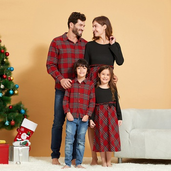 Mosaic Red Stripe Plaid Long-sleeve Family Matching Sets