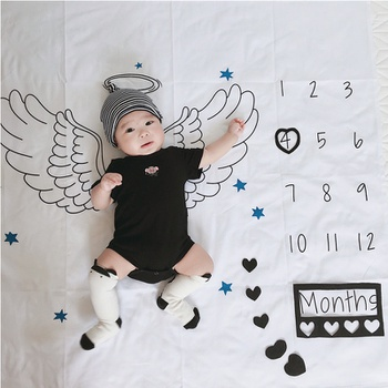 Wing Design Baby Milestone Blanket Photography Background Prop(not Include Photo Frames)