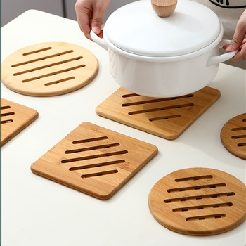 Bamboo Home Kitchen Bamboo Hot Pads Heat Resistant Pads Teapot Square and Round