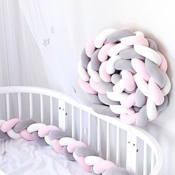 Soft Knit Knot Long Strip Baby Bed Bumper Protector