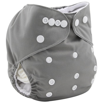 Reusable Adjustable Grey Cloth Diaper with One Insert