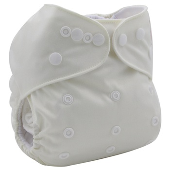 Reusable Adjustable White Cloth Diaper with One Insert