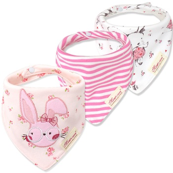 3-pack Lovely Rabbit Embroidered Bibs Set for Baby