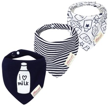 3-pack Milk Bottle Print Bibs Set for Baby