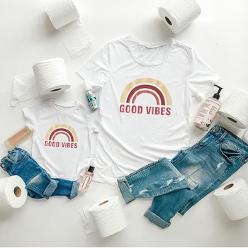 """""""GOOD VIBES"""" Letter Rainbow Print Pattern Cotton White T-shirts for Mom and Me"""