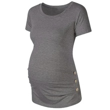 Casual Solid Short-sleeve Maternity Tee