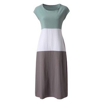 Beautiful Round Neck Color block Pocket Dress