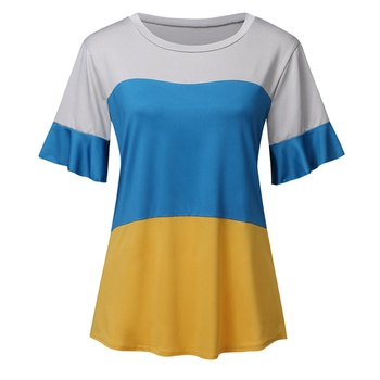 Round collar Color Block Color block Short Sleeve casual T-shirt