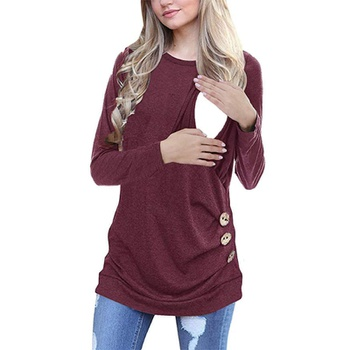 Casual Button Decor Long-sleeve Nursing Tee
