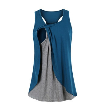 Casual Colorblock Nursing Tank