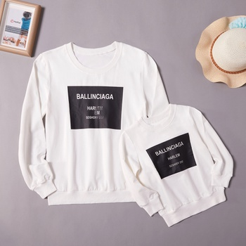Trendy Letter Print Long-sleeve Tops for Mom and Me