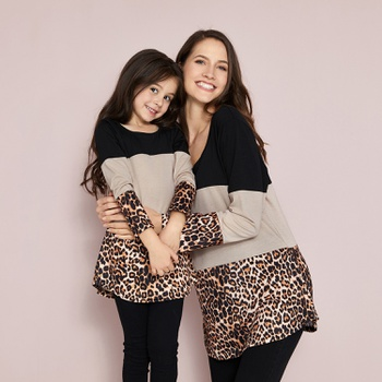 Stylish Leopard Color Matching Long Sleeve for Mom and Me