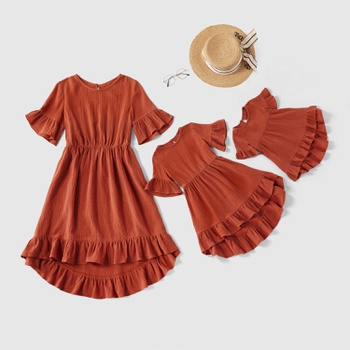100% Cotton Solid Color Ruffle Cuff Matching Midi Dresses