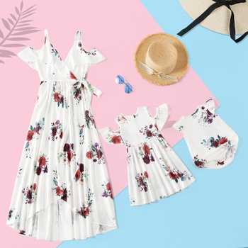 Floral Print Matching White Midi Dresses
