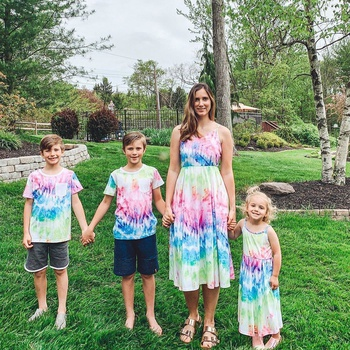 Mosaic Colorful Tie-dye Family Matching Sets