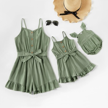 Mommy and Me Flounce Front Button Tank Rompers