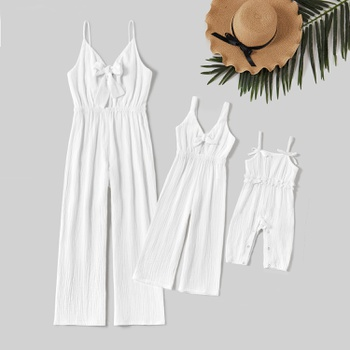 100% Cotton Solid Color Matching White Sling Jumpsuits