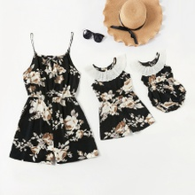 Mommy and Me Floral Print Stitching Lace Tank Rompers