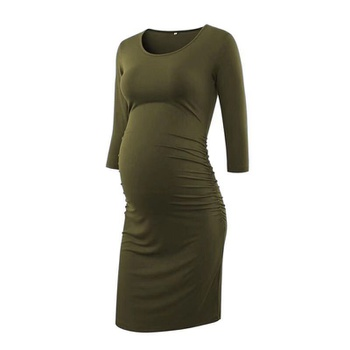 Casual Solid Long-sleeve Maternity Body-con Dress