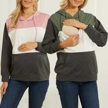 colorblo zipper lactation hoodie